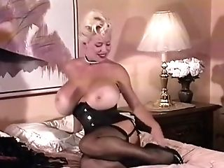 Hefty Hooters In Black Nylons Strips