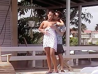 Poolside Hook-up - Big-boobed Black-haired Gets Fucked