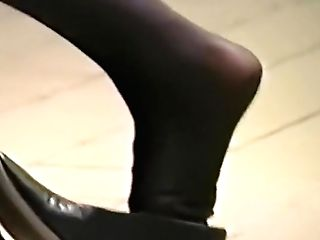 Fine Pantyhosed Feet Boot Dipping