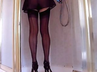 Douche In French Knickers Black Stockings